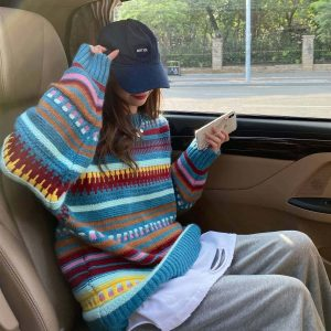 Loose Christmas Striped Color Sweater 3 - My Sweet Outfit - EGirl Outfits - Soft Girl Clothes Aesthetic - Grunge Fashion Tumblr Hip Emo Rap Trap