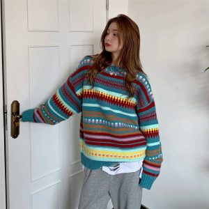 Loose Christmas Striped Color Sweater 4 - My Sweet Outfit - EGirl Outfits - Soft Girl Clothes Aesthetic - Grunge Fashion Tumblr Hip Emo Rap Trap