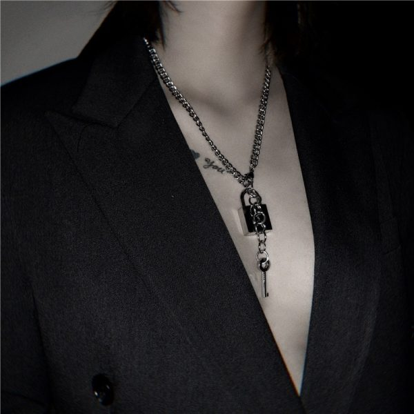 Love Lock And Key Necklace 1 - My Sweet Outfit - EGirl Outfits - Soft Girl Clothes Aesthetic - Grunge Fashion Grime Hip Emo Rap Trap