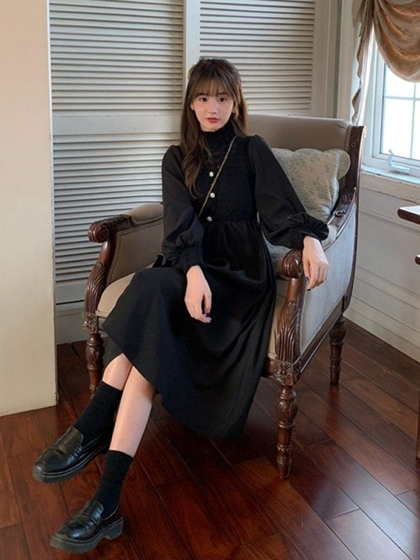 Mid Length Long Sleeve Dress 1 - My Sweet Outfit - EGirl Outfits - Soft Girl Clothes Aesthetic - Grunge Fashion Tumblr Hip Emo Rap Trap