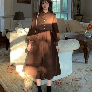 Mid Length Long Sleeve Dress 3 - My Sweet Outfit - EGirl Outfits - Soft Girl Clothes Aesthetic - Grunge Fashion Tumblr Hip Emo Rap Trap