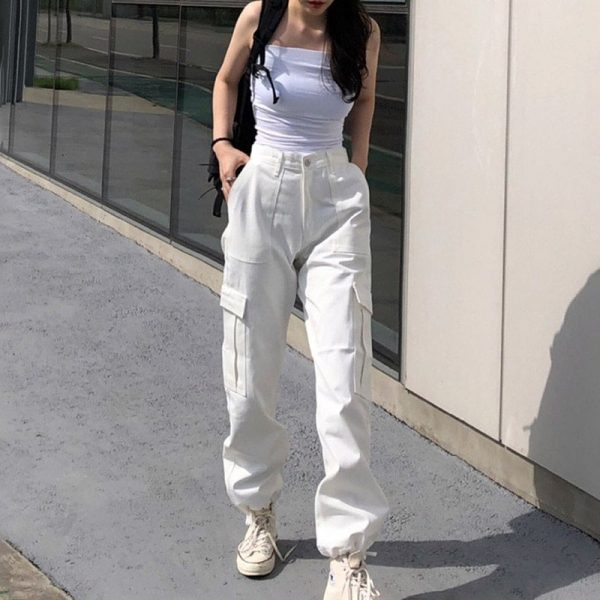 Multiple Pockets Long Leg Casual Pants 1 - My Sweet Outfit - EGirl Outfits - Soft Girl Clothes Aesthetic