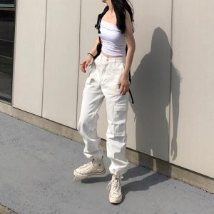 Multiple Pockets Long Leg Casual Pants 4 - My Sweet Outfit - EGirl Outfits - Soft Girl Clothes Aesthetic