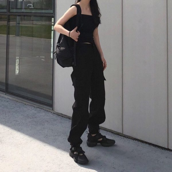 Multiple Pockets Long Leg Casual Pants 5 - My Sweet Outfit - EGirl Outfits - Soft Girl Clothes Aesthetic