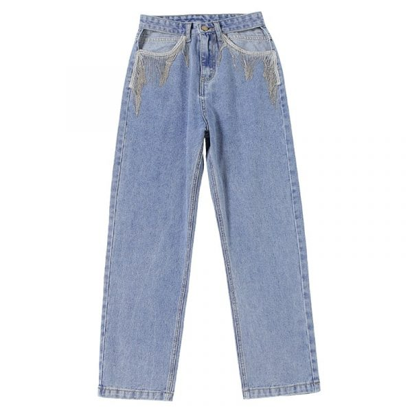 Nineties Fringed Jeans Without Pockets 1 - My Sweet Outfit - EGirl Outfits - Soft Girl Clothes Aesthetic