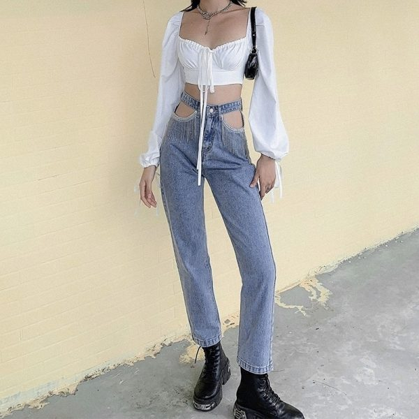 Nineties Fringed Jeans Without Pockets 3 - My Sweet Outfit - EGirl Outfits - Soft Girl Clothes Aesthetic