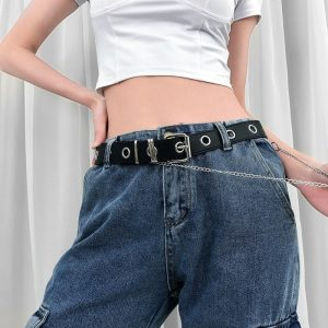 PU Belt With Holes And Chain 4 - My Sweet Outfit - EGirl Outfits - Soft Girl Clothes Aesthetic - Grunge Fashion Grime Hip Emo Rap Trap