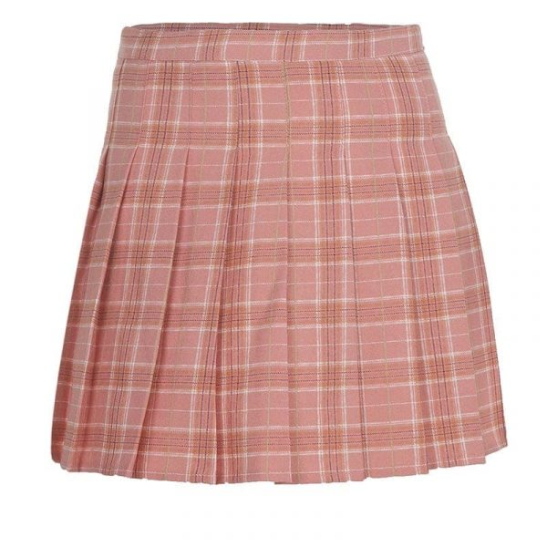 Pink Plaid Short Pleated Skirt 4 - My Sweet Outfit - EGirl Outfits - Soft Girl Clothes Aesthetic - Grunge Fashion Tumblr Hip Emo Rap Trap