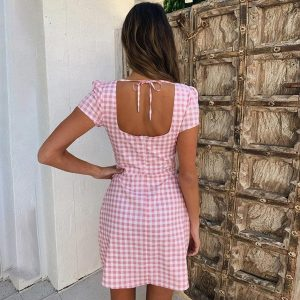 Pink Plaid Square Neck Dress 3 - My Sweet Outfit - EGirl Outfits - Soft Girl Clothes Aesthetic