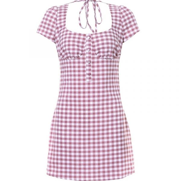 Pink Plaid Square Neck Dress 4 - My Sweet Outfit - EGirl Outfits - Soft Girl Clothes Aesthetic