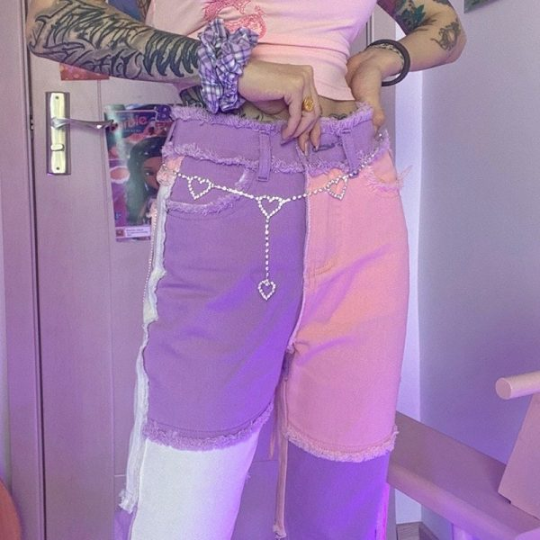 Pink Weird Girl Frayed Edges Jeans 1 - My Sweet Outfit - EGirl Outfits - Soft Girl Clothes Aesthetic - Grunge Fashion Tumblr Hip Emo Rap Trap