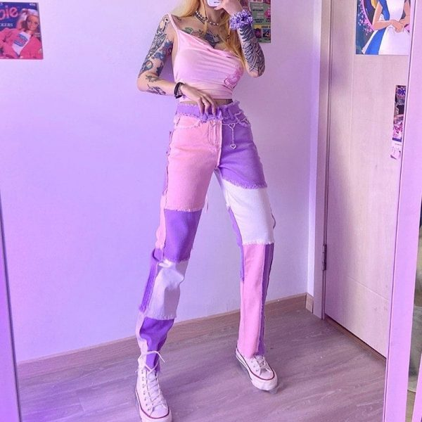 Pink Weird Girl Frayed Edges Jeans 3 - My Sweet Outfit - EGirl Outfits - Soft Girl Clothes Aesthetic - Grunge Fashion Tumblr Hip Emo Rap Trap