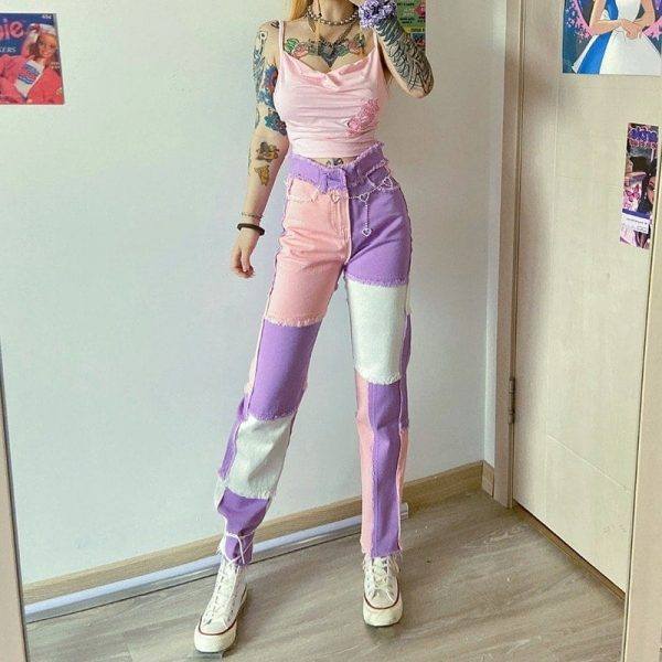 Pink Weird Girl Frayed Edges Jeans 4 - My Sweet Outfit - EGirl Outfits - Soft Girl Clothes Aesthetic - Grunge Fashion Tumblr Hip Emo Rap Trap