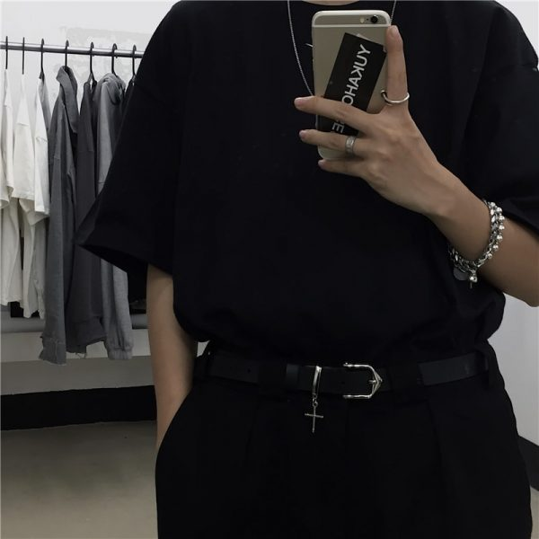 Plain Black Unisex Belt With Cross 4 - My Sweet Outfit - EGirl Outfits - Soft Girl Clothes Aesthetic