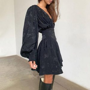 Puff Sleeves Thin Waist Floral Dress 1 - My Sweet Outfit - EGirl Outfits - Soft Girl Clothes Aesthetic
