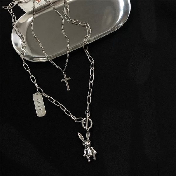 Rabbit And Inscription Hope Necklace 4 - My Sweet Outfit - EGirl Outfits - Soft Girl Clothes Aesthetic