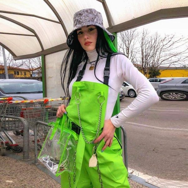 Rave Street Loose Green Rompers 1 - My Sweet Outfit - EGirl Outfits - Soft Girl Clothes Aesthetic - Grunge Fashion Grime Hip Emo Rap Trap