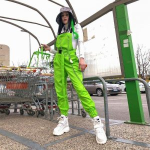 Rave Street Loose Green Rompers 2 - My Sweet Outfit - EGirl Outfits - Soft Girl Clothes Aesthetic - Grunge Fashion Grime Hip Emo Rap Trap