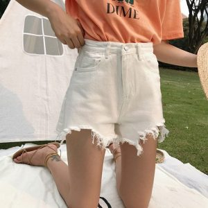 Raw Edge Notched Wide White Shorts 1 - My Sweet Outfit - EGirl Outfits - Soft Girl Clothes Aesthetic - Grunge Fashion Tumblr Hip Emo Rap Trap