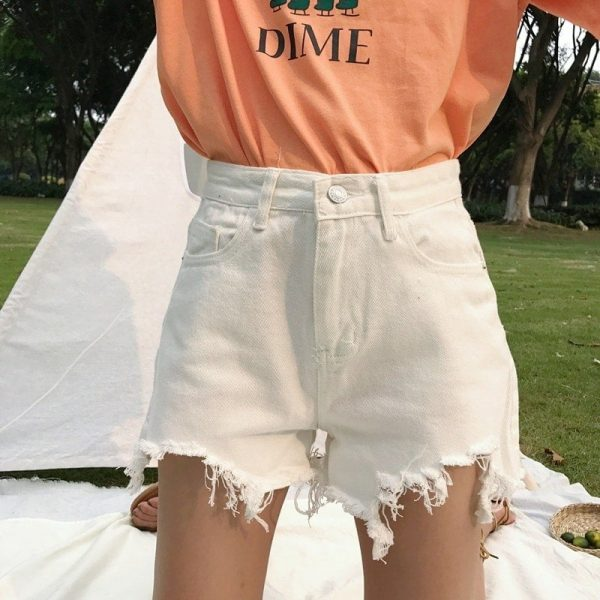 Raw Edge Notched Wide White Shorts 2 - My Sweet Outfit - EGirl Outfits - Soft Girl Clothes Aesthetic - Grunge Fashion Tumblr Hip Emo Rap Trap