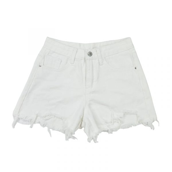 Raw Edge Notched Wide White Shorts 3 - My Sweet Outfit - EGirl Outfits - Soft Girl Clothes Aesthetic - Grunge Fashion Tumblr Hip Emo Rap Trap