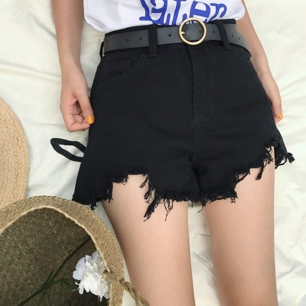 Raw Edge Notched Wide White Shorts 5 - My Sweet Outfit - EGirl Outfits - Soft Girl Clothes Aesthetic - Grunge Fashion Tumblr Hip Emo Rap Trap