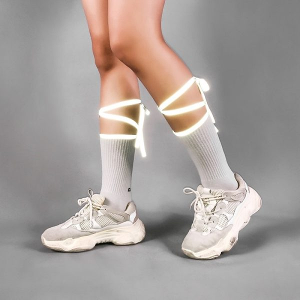 Reflective Bow Tie High Socks 1 - My Sweet Outfit - EGirl Outfits - Soft Girl Clothes Aesthetic - Grunge Fashion Grime Hip Emo Rap Trap