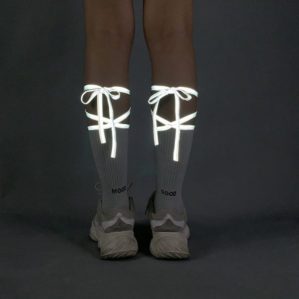 Reflective Bow Tie High Socks 2 - My Sweet Outfit - EGirl Outfits - Soft Girl Clothes Aesthetic - Grunge Fashion Grime Hip Emo Rap Trap