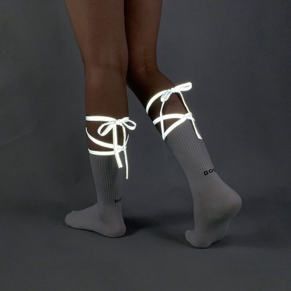 Reflective Bow Tie High Socks 4 - My Sweet Outfit - EGirl Outfits - Soft Girl Clothes Aesthetic - Grunge Fashion Grime Hip Emo Rap Trap