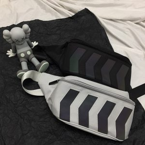Reflective Stripes Messenger Chest Bag 2 - My Sweet Outfit - EGirl Outfits - Soft Girl Clothes Aesthetic