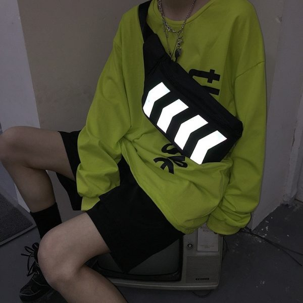 Reflective Stripes Messenger Chest Bag 3 - My Sweet Outfit - EGirl Outfits - Soft Girl Clothes Aesthetic