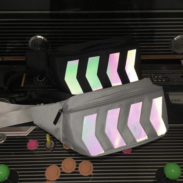 Reflective Stripes Messenger Chest Bag 4 - My Sweet Outfit - EGirl Outfits - Soft Girl Clothes Aesthetic