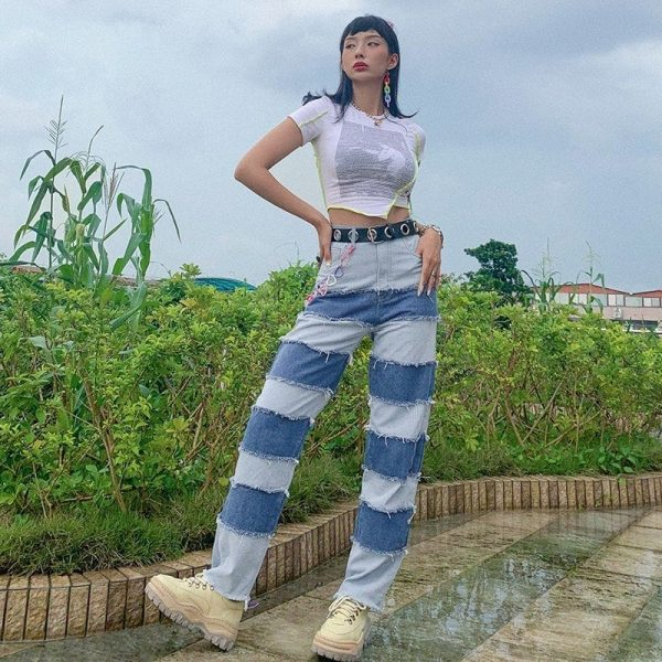 Retro Contrast Color Straight Loose Jeans 1 - My Sweet Outfit - EGirl Outfits - Soft Girl Clothes Aesthetic - Grunge Fashion Tumblr Hip Emo Rap Trap