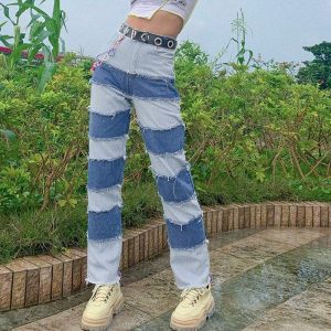 Retro Contrast Color Straight Loose Jeans 2 - My Sweet Outfit - EGirl Outfits - Soft Girl Clothes Aesthetic - Grunge Fashion Tumblr Hip Emo Rap Trap