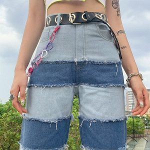 Retro Contrast Color Straight Loose Jeans 3 - My Sweet Outfit - EGirl Outfits - Soft Girl Clothes Aesthetic - Grunge Fashion Tumblr Hip Emo Rap Trap