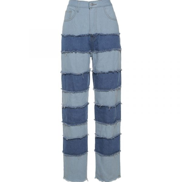 Retro Contrast Color Straight Loose Jeans 5 - My Sweet Outfit - EGirl Outfits - Soft Girl Clothes Aesthetic - Grunge Fashion Tumblr Hip Emo Rap Trap