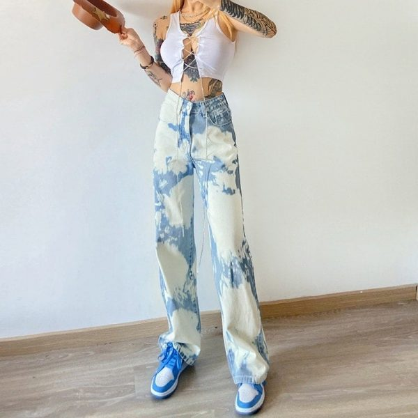 Retro Fresh Color Spots Blue Jeans 1 - My Sweet Outfit - EGirl Outfits - Soft Girl Clothes Aesthetic - Grunge Fashion Tumblr Hip Emo Rap Trap