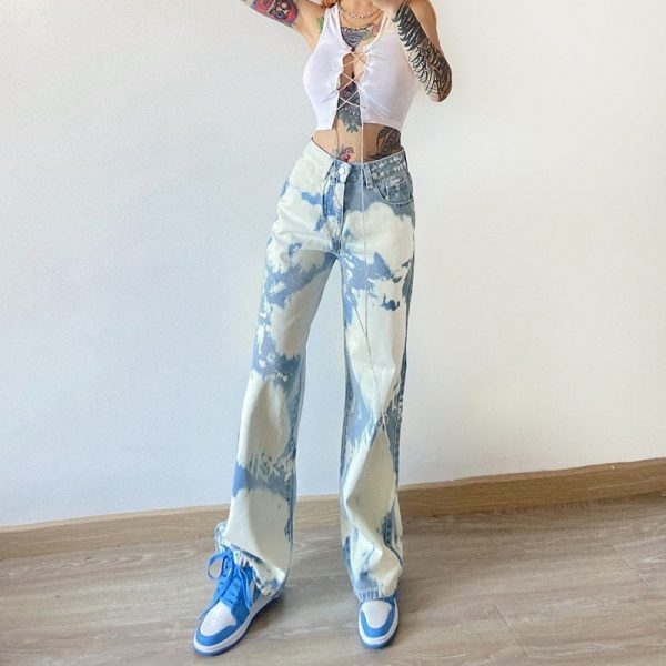 Retro Fresh Color Spots Blue Jeans 2 - My Sweet Outfit - EGirl Outfits - Soft Girl Clothes Aesthetic - Grunge Fashion Tumblr Hip Emo Rap Trap