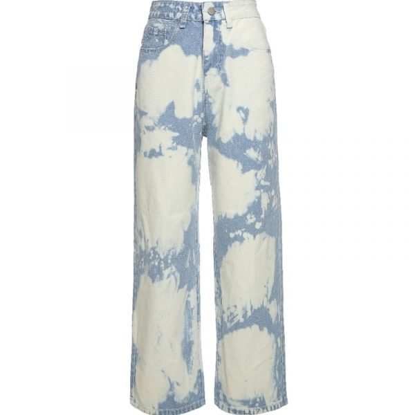 Retro Fresh Color Spots Blue Jeans 5 - My Sweet Outfit - EGirl Outfits - Soft Girl Clothes Aesthetic - Grunge Fashion Tumblr Hip Emo Rap Trap