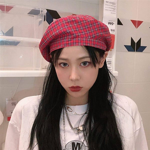 Retro Red Plaid Beret 1 - My Sweet Outfit - EGirl Outfits - Soft Girl Clothes Aesthetic