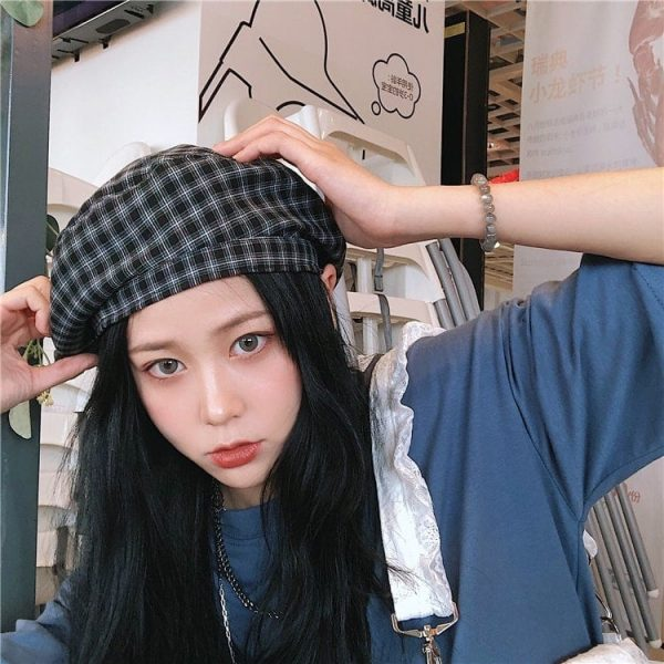 Retro Red Plaid Beret 2 - My Sweet Outfit - EGirl Outfits - Soft Girl Clothes Aesthetic