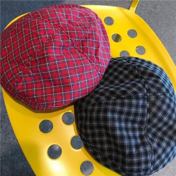 Retro Red Plaid Beret 4 - My Sweet Outfit - EGirl Outfits - Soft Girl Clothes Aesthetic