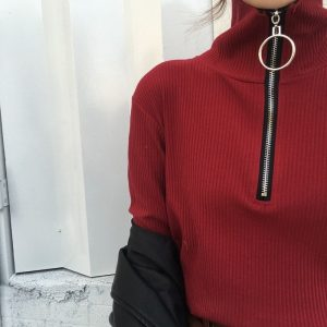Ring Zipper High Neck Sweatshirt 1 - My Sweet Outfit - EGirl Outfits - Soft Girl Clothes Aesthetic - Grunge Fashion Tumblr Hip Emo Rap Trap