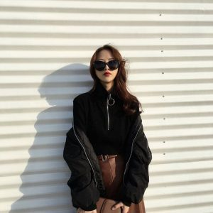 Ring Zipper High Neck Sweatshirt 2 - My Sweet Outfit - EGirl Outfits - Soft Girl Clothes Aesthetic - Grunge Fashion Tumblr Hip Emo Rap Trap