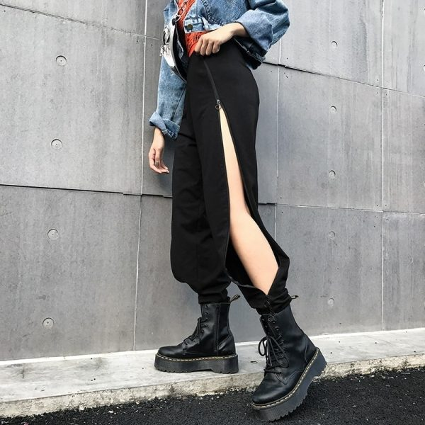 Ring Zipper Slit Design Pants 1 - My Sweet Outfit - EGirl Outfits - Soft Girl Clothes Aesthetic - Grunge Fashion Tumblr Hip Emo Rap Trap