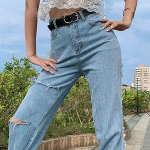 Ripped Thin Denim Long Legs Jeans 1 - My Sweet Outfit - EGirl Outfits - Soft Girl Clothes Aesthetic - Grunge Fashion Tumblr Hip Emo Trap