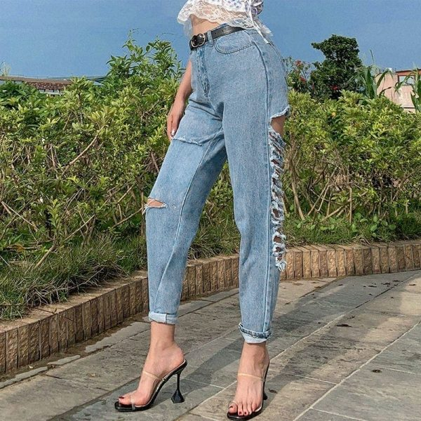 Ripped Thin Denim Long Legs Jeans 2 - My Sweet Outfit - EGirl Outfits - Soft Girl Clothes Aesthetic - Grunge Fashion Tumblr Hip Emo Trap