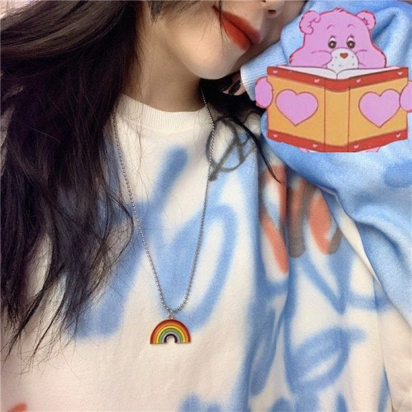 Round Bead Chain Rainbow Necklace 2 - My Sweet Outfit - EGirl Outfits - Soft Girl Clothes Aesthetic - Grunge Fashion Grime Hip Emo Rap Trap
