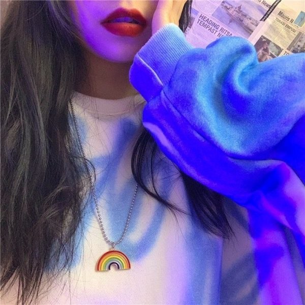 Round Bead Chain Rainbow Necklace 3 - My Sweet Outfit - EGirl Outfits - Soft Girl Clothes Aesthetic - Grunge Fashion Grime Hip Emo Rap Trap