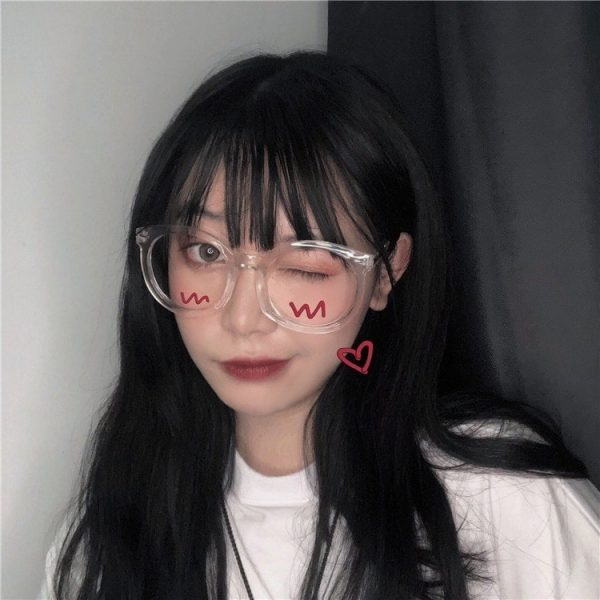Round Big Transparent Glasses 1 - My Sweet Outfit - EGirl Outfits - Soft Girl Clothes Aesthetic - Grunge Fashion Grime Hip Emo Rap Trap